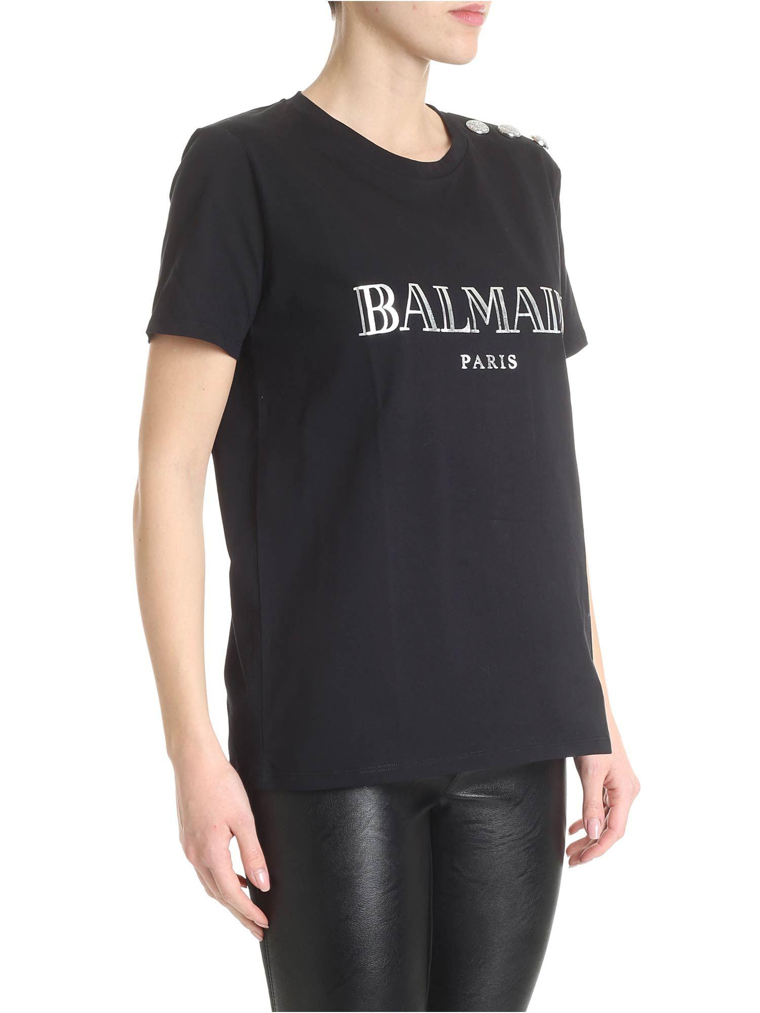 caed557d Lyst - Balmain Black T-shirt With Buttons in Black