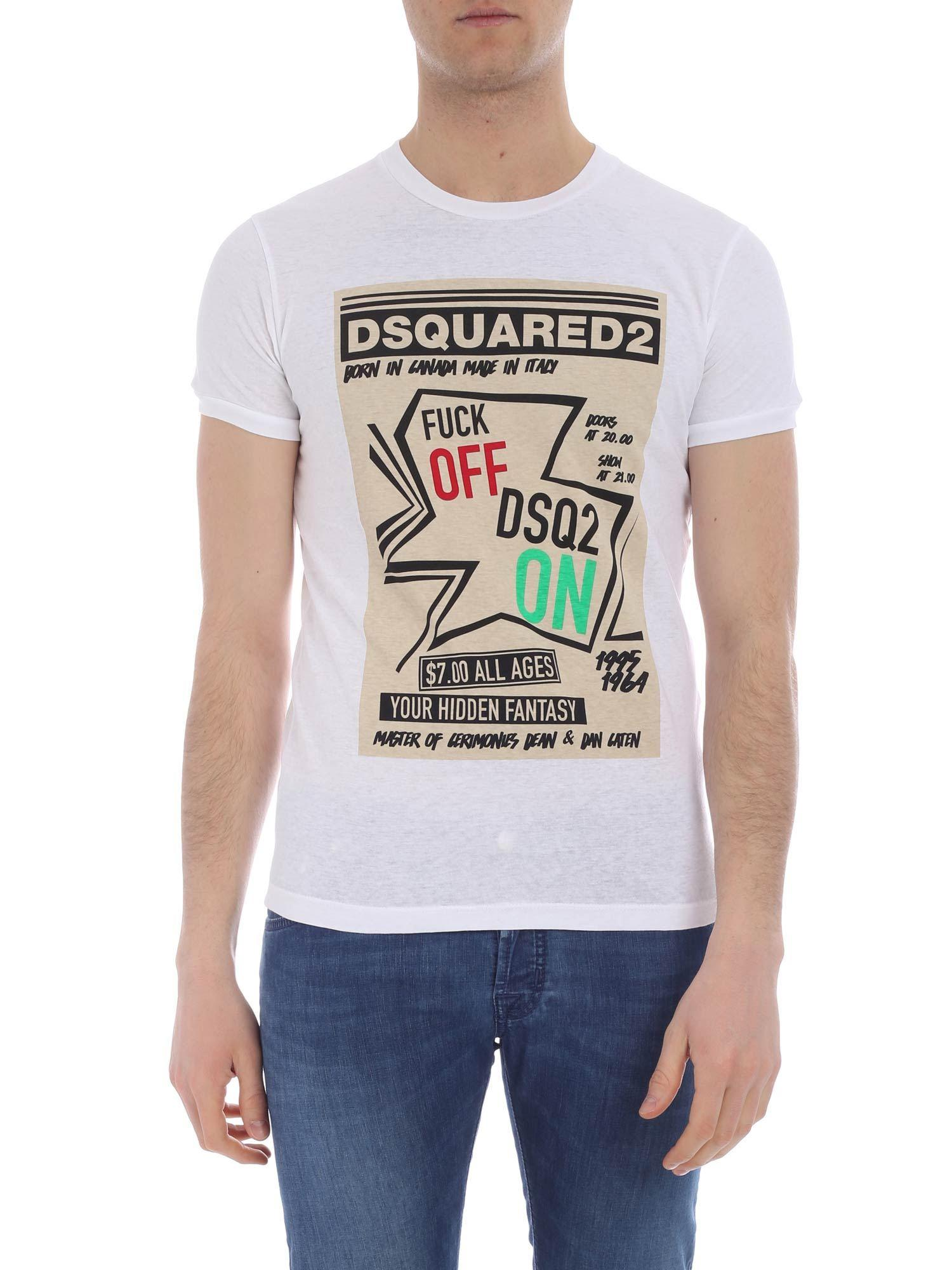 new & pre-owned designer low price hoard as a rare commodity DSquared² Cotton Fuck Off Dsq2 T-shirt in White for Men - Lyst