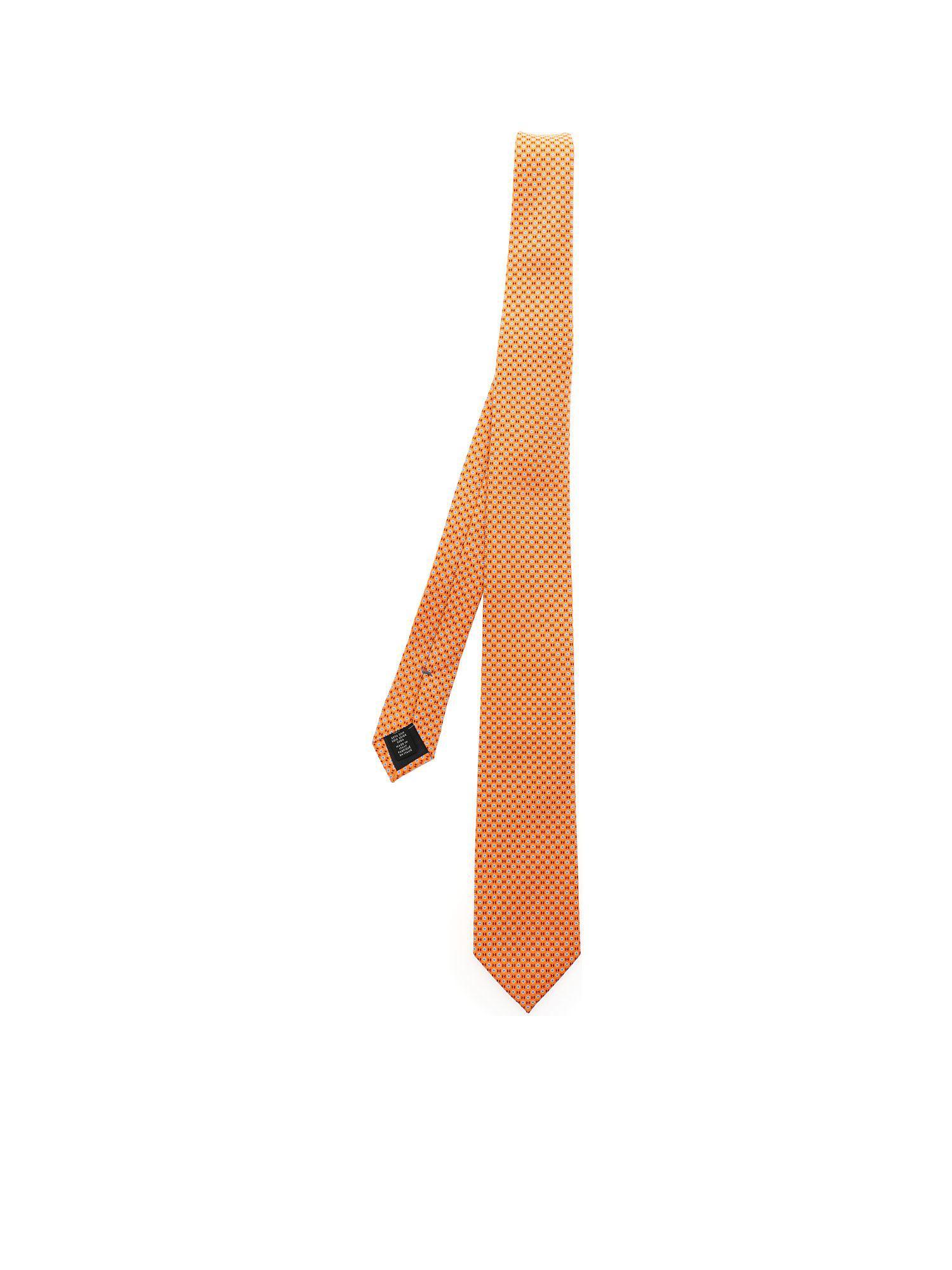 ae60fb45 Ermenegildo Zegna Orange Tie With Light Blue And Red Motif in Orange ...