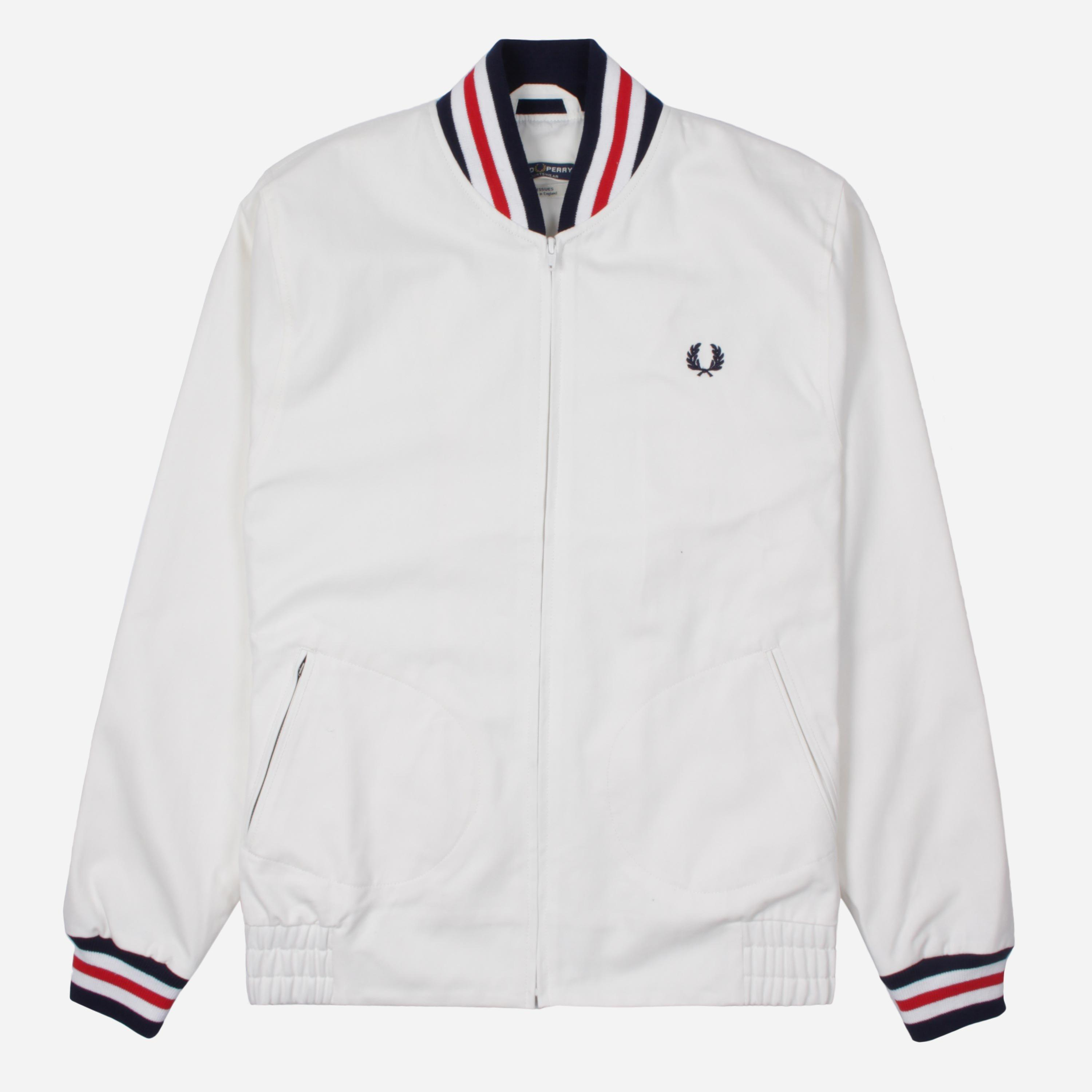 4df94a845 Fred Perry Reissues Original Tennis Bomber Jacket in White for Men ...