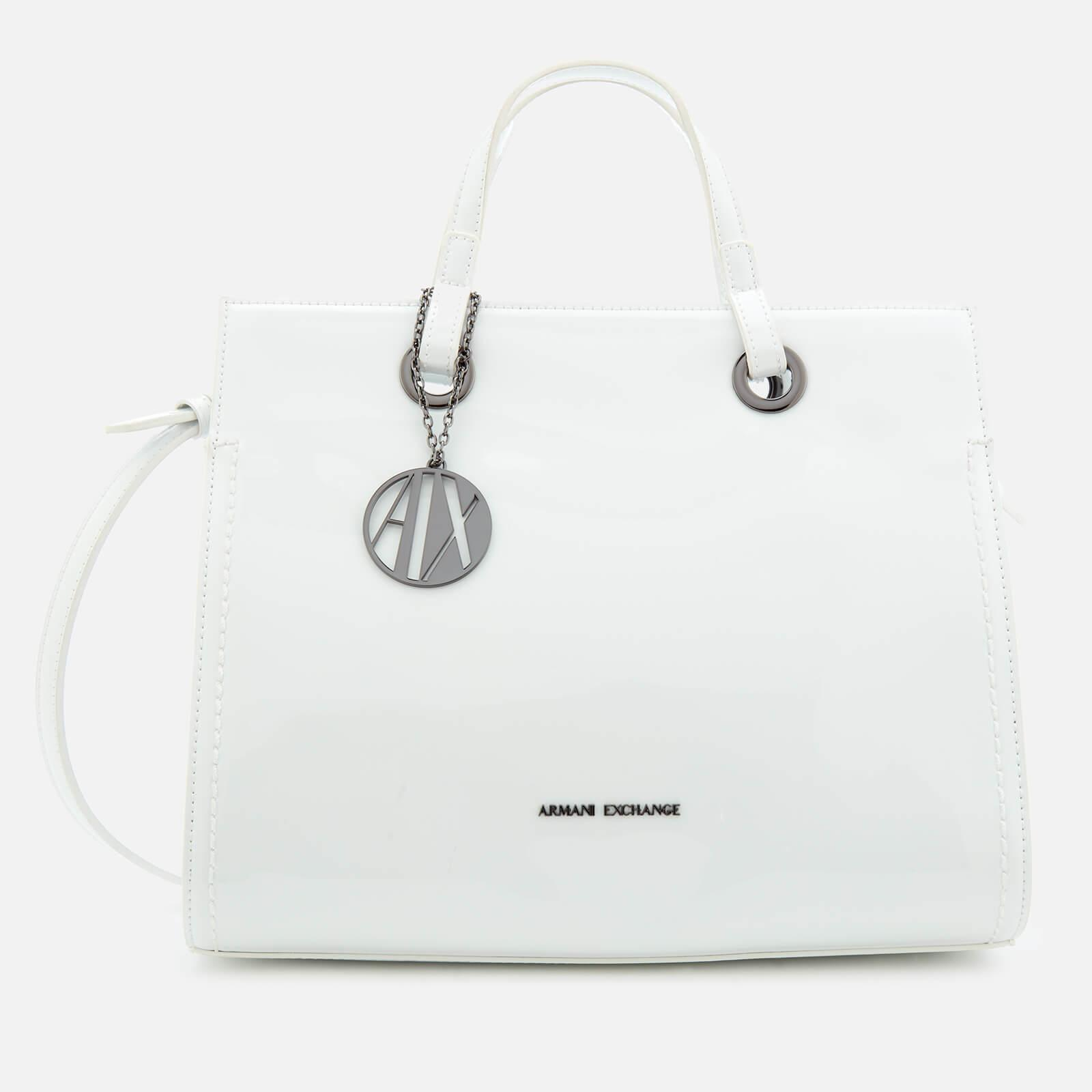 Lyst - Armani Exchange Structured Patent Tote Bag in White e17e8321ee45b