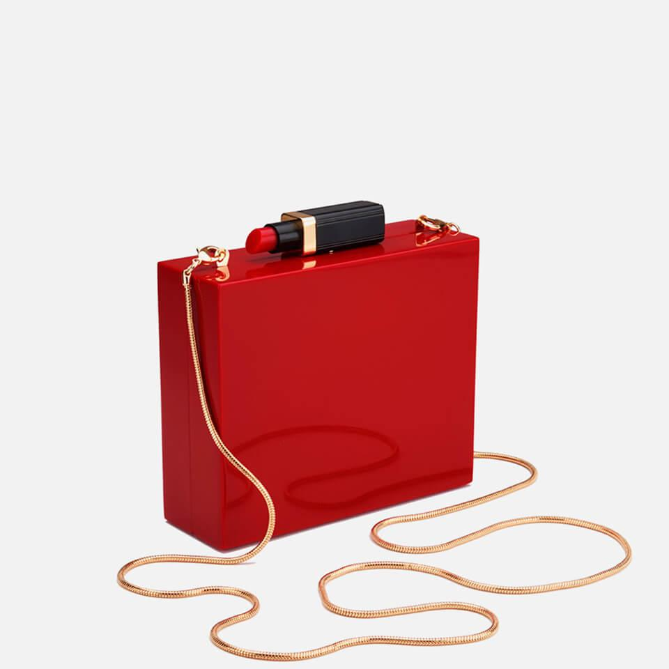 c79375d4c1 Lulu Guinness - Red Chloe Perspex Clutch Bag With Lipstick - Lyst. View  fullscreen