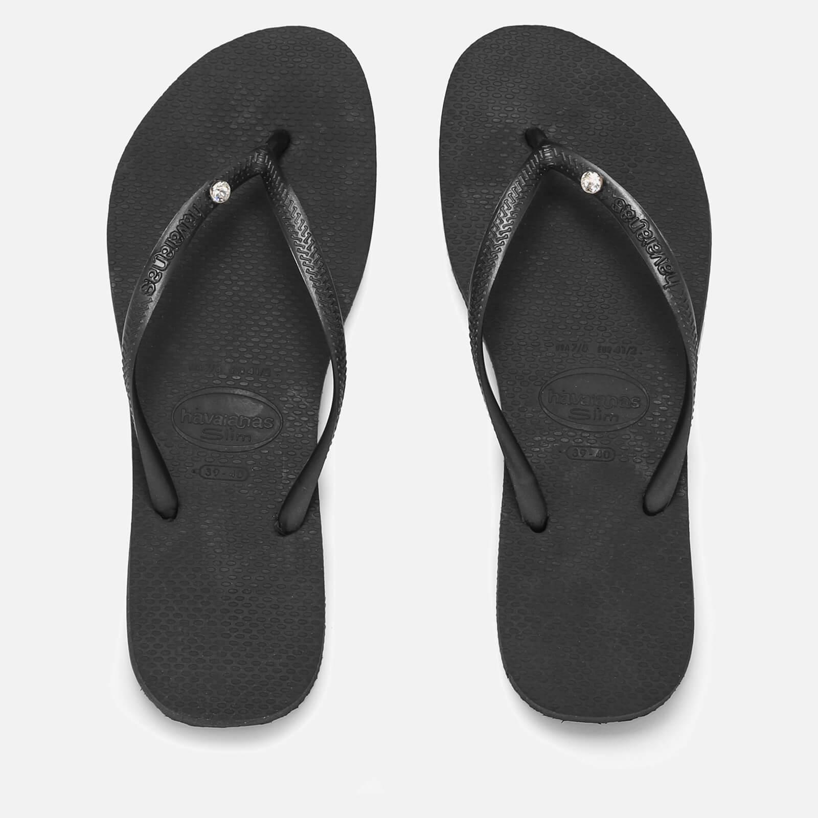 ad4eb855433e Havaianas Slim Swarovski Crystal Glamour Flip Flops in Black - Lyst