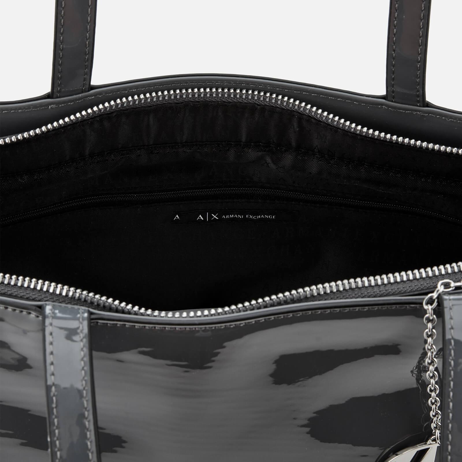 3f53d8c55d3 Armani Exchange - Black Patent Logo Tote Bag - Lyst. View fullscreen