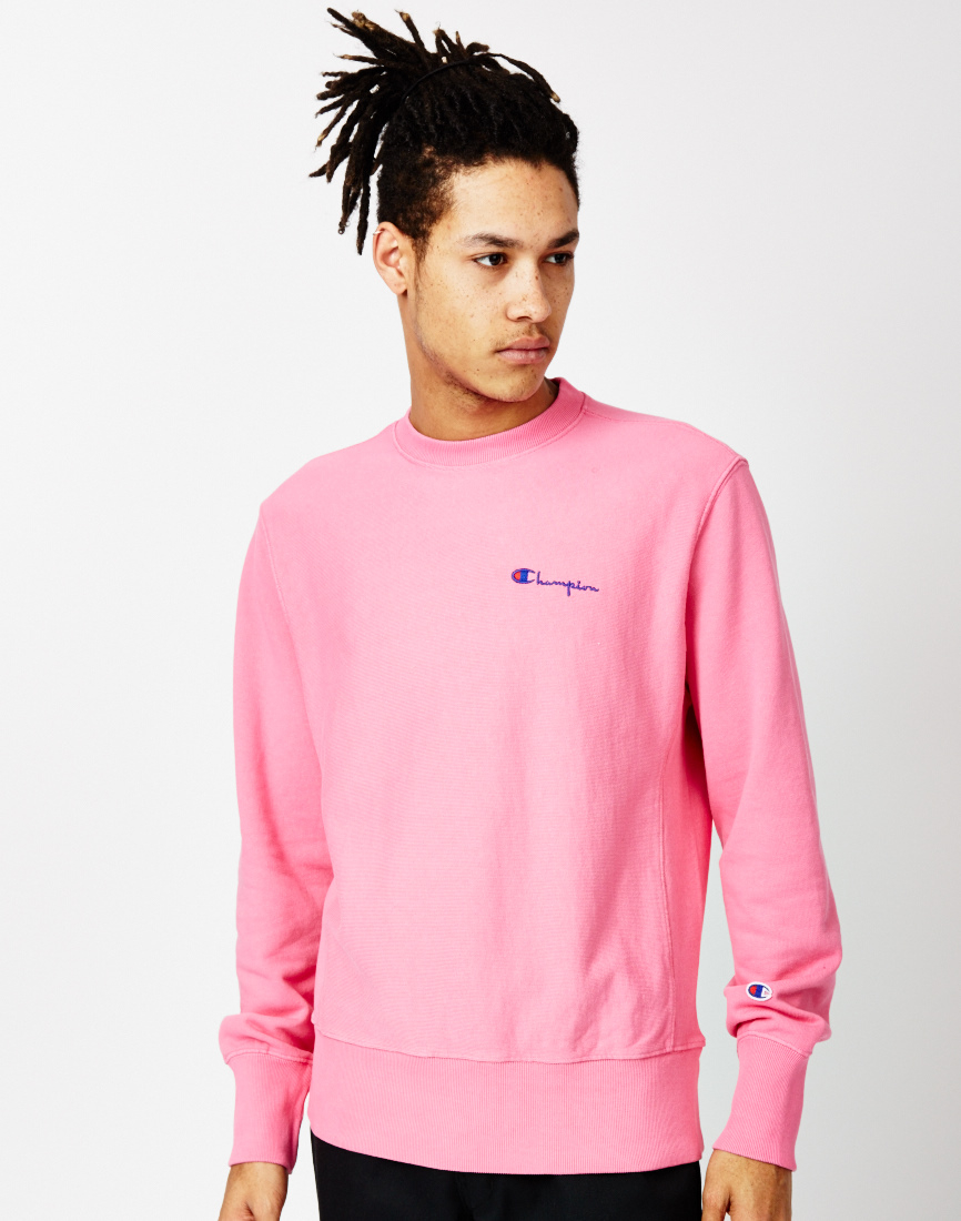 Champion Garment Dyed Classic Crew Sweatshirt Pink in Pink for Men ...