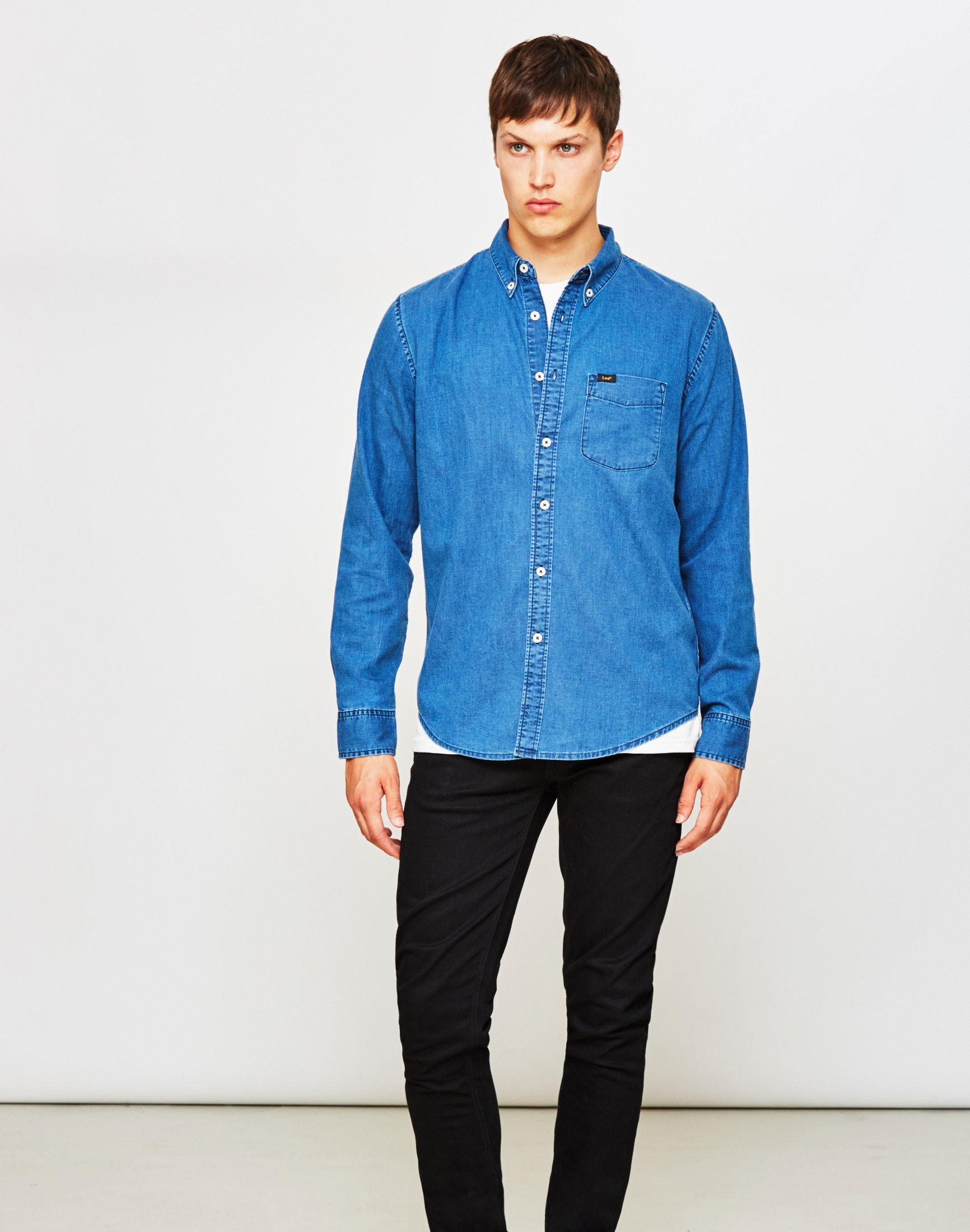 Lyst lee jeans lee button down denim shirt blue in blue for Denim button down shirts