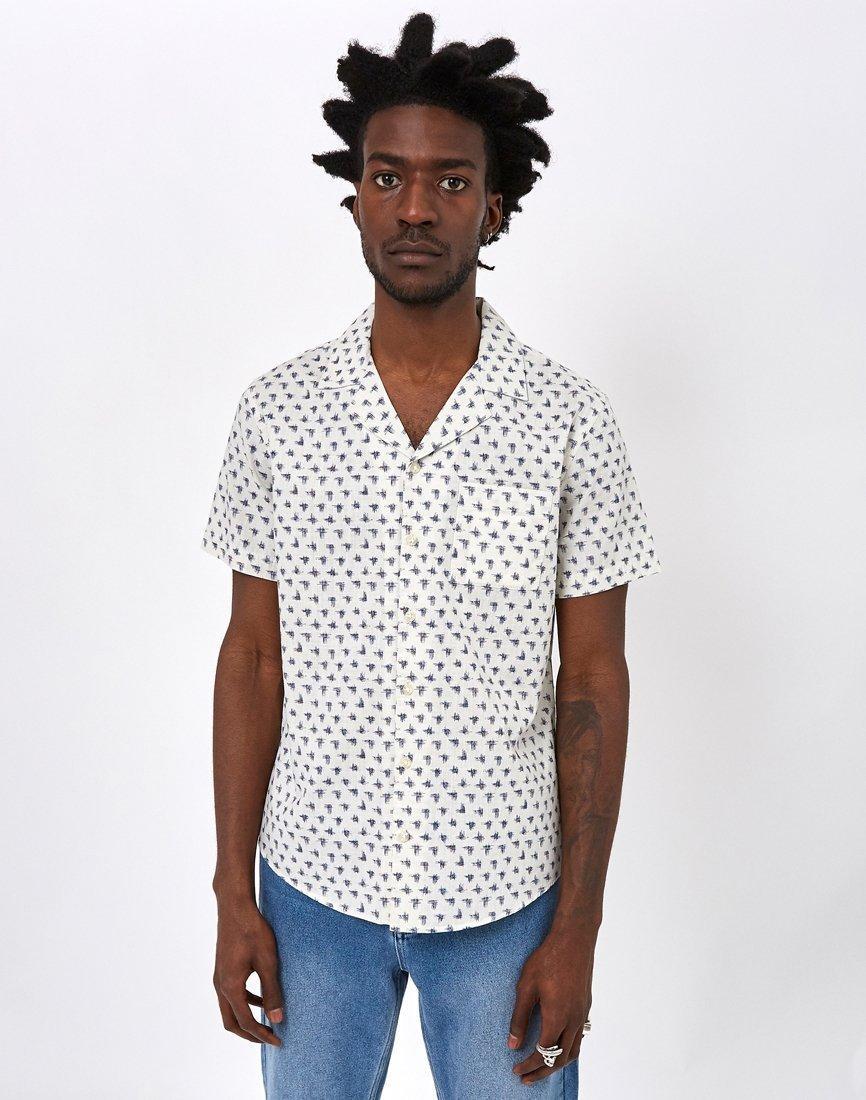 72ecd453529 Lyst - The Idle Man Scribble Slub Revere Collar Shirt Off White in ...