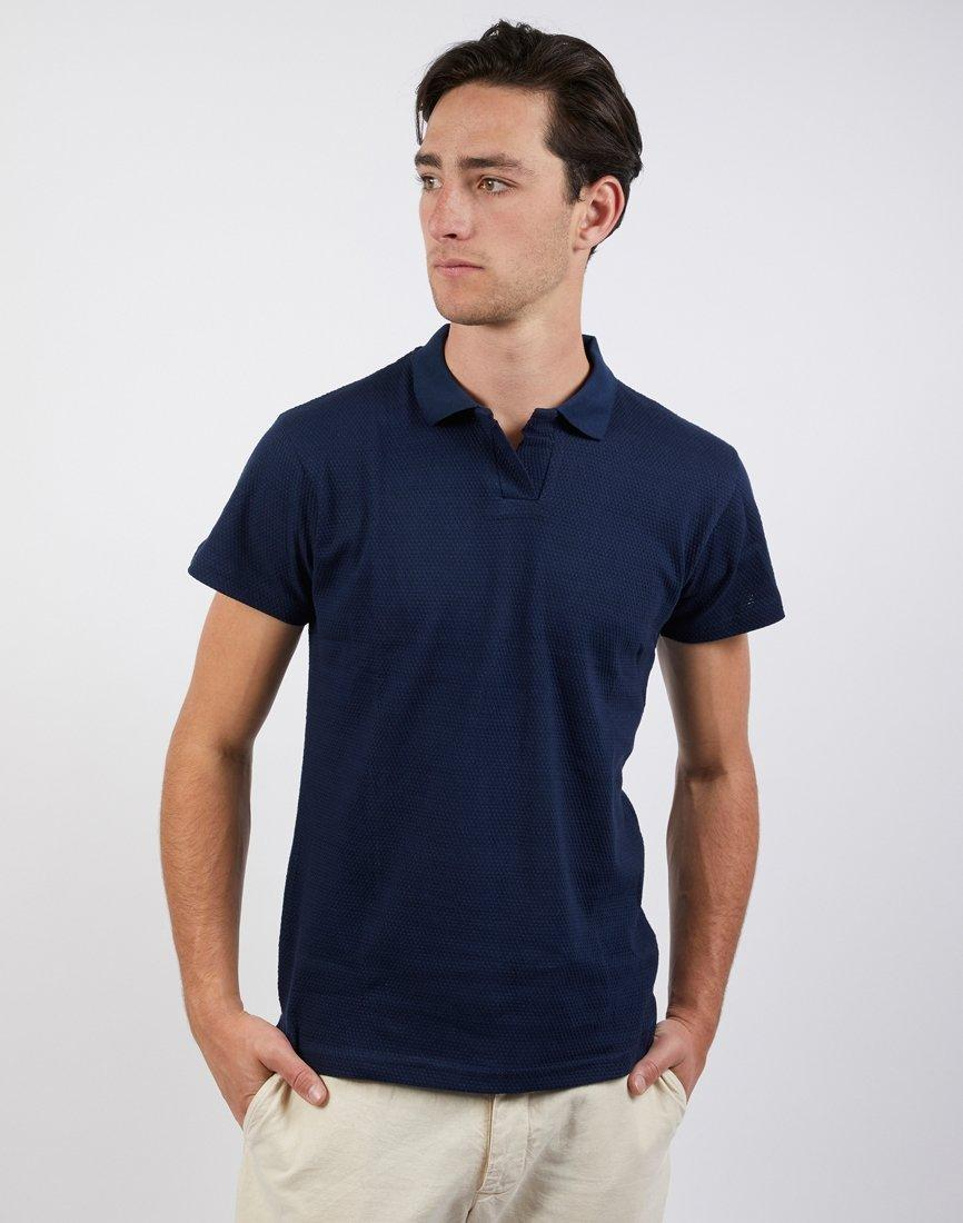 a30f708e66bd The Idle Man Bubble Texture Polo Shirt Navy in Blue for Men - Lyst