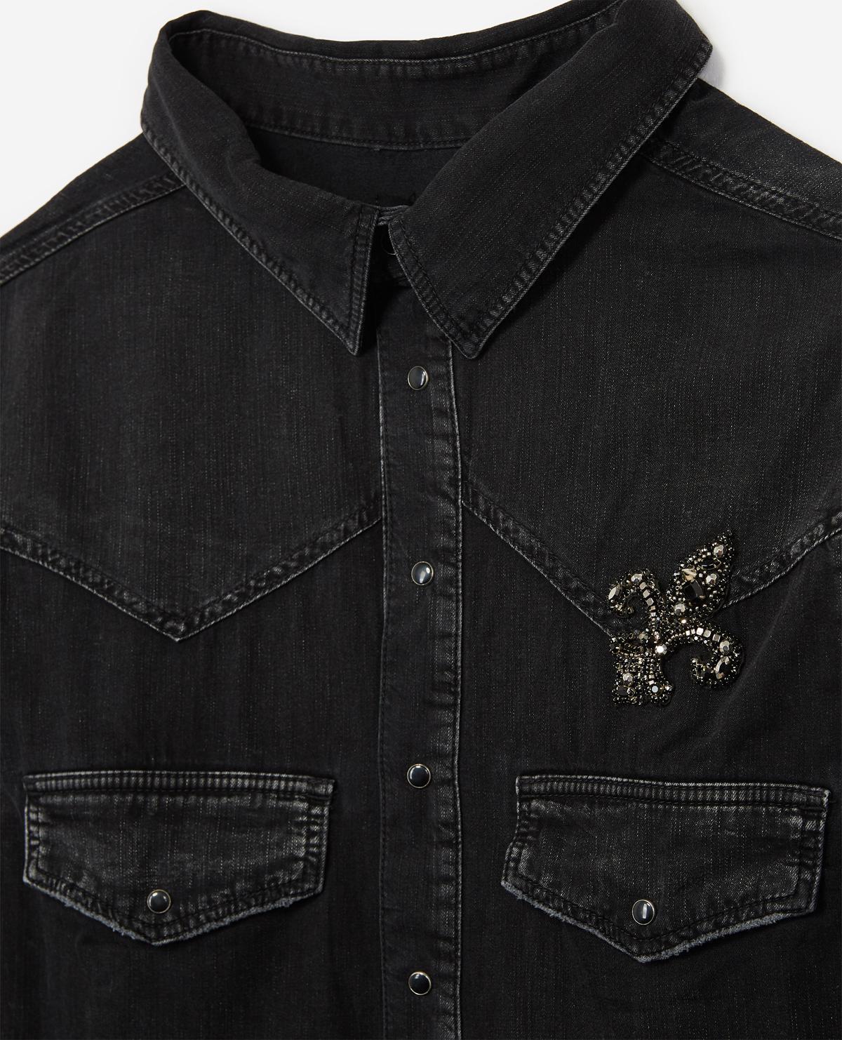 4a73165548 Lyst - The Kooples Denim Shirt With Medium Black Fleur De Lys Patch in Black