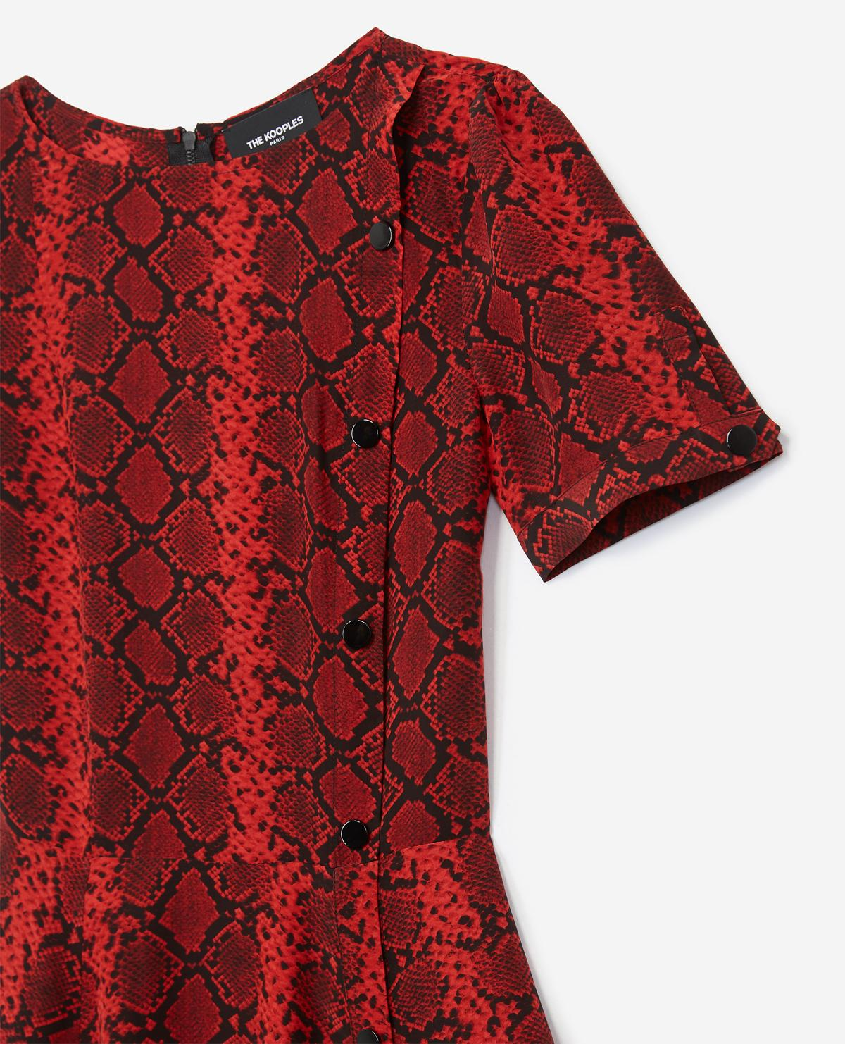 3d25b69a2938d1 Lyst - The Kooples Short Dress With Red Snake Print in Red