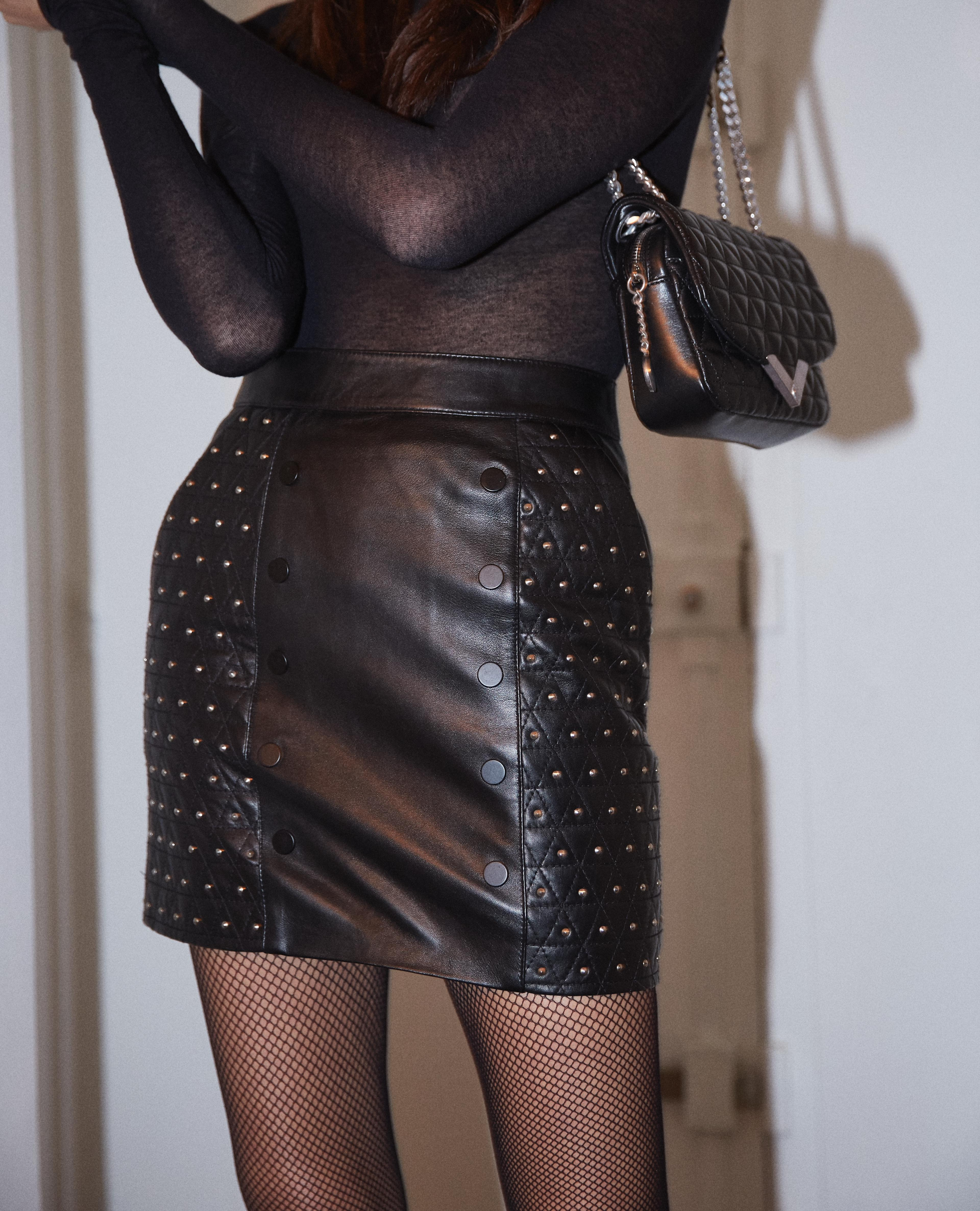 ad6d9780c The Kooples Black Padded Leather Skirt in Black - Lyst
