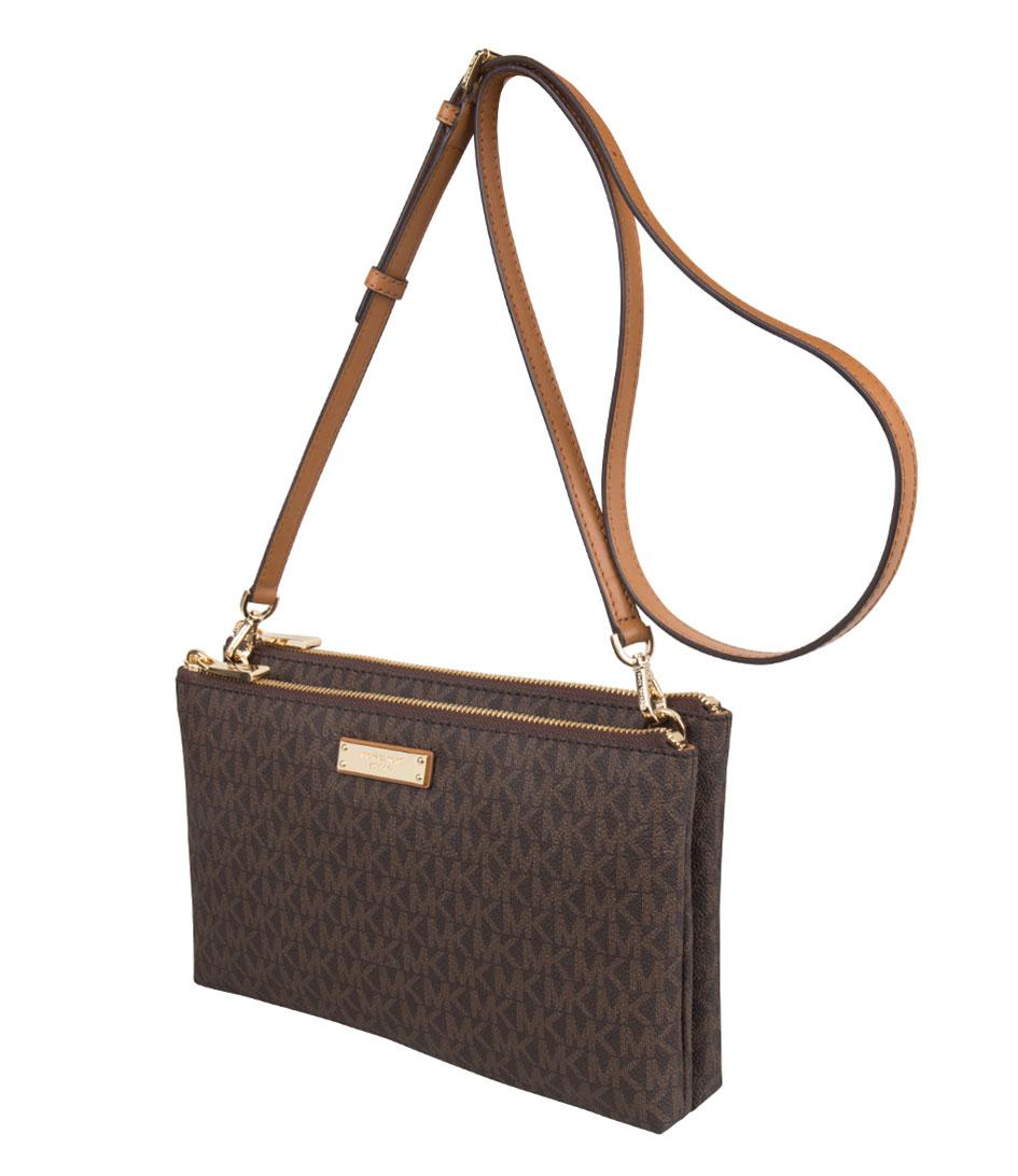 10aec2bccda5 Michael Kors - Brown Adele Double Zip Crossbody - Lyst. View fullscreen