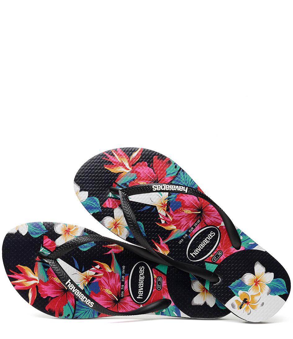 3bf928b96f8c Havaianas - Black Slim Tropical Floral - Lyst. View fullscreen