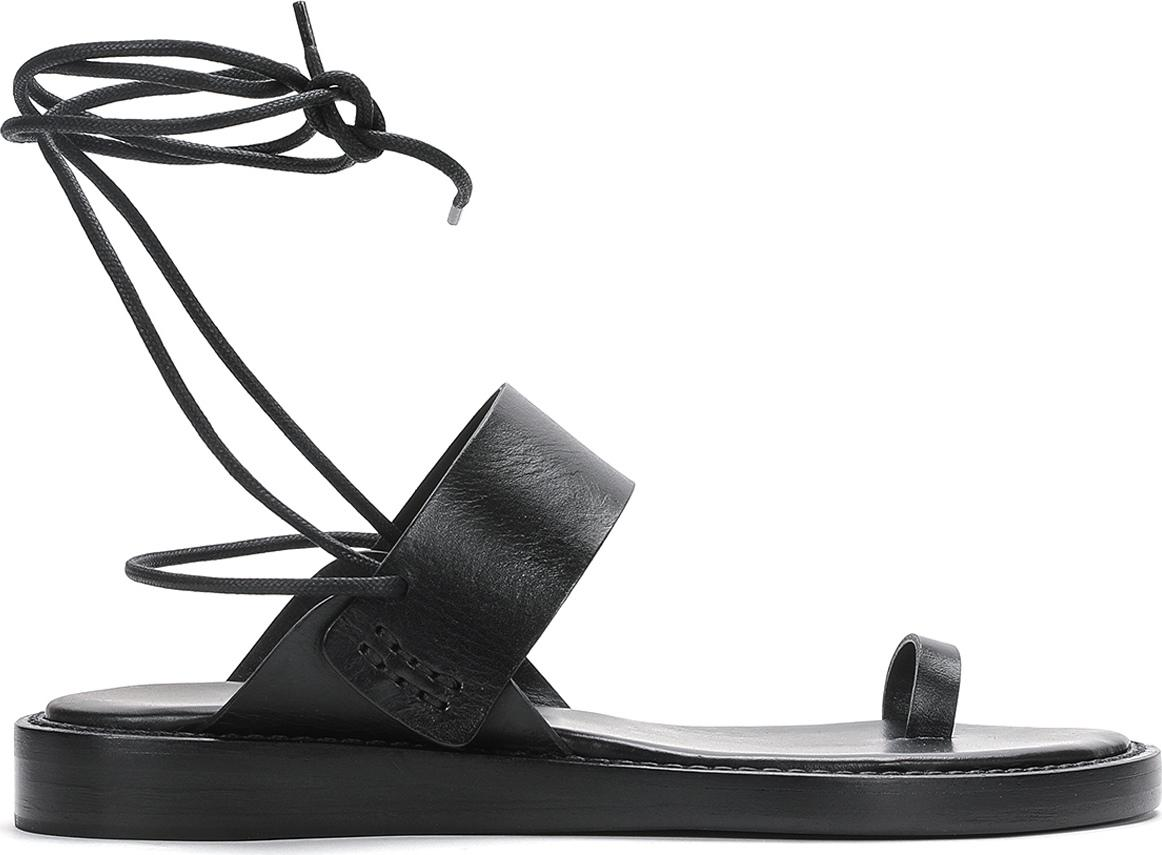Ann Demeulemeester. Women's Black One Toe Leather Sandals