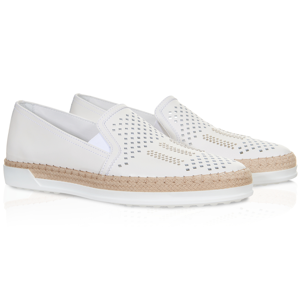 tod s slip on shoes in leather in white lyst