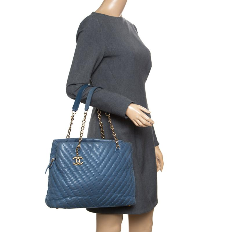 fcaaad79d1fd Chanel - Blue Iridescent Chevron Quilted Leather Large Surpique Tote -  Lyst. View fullscreen