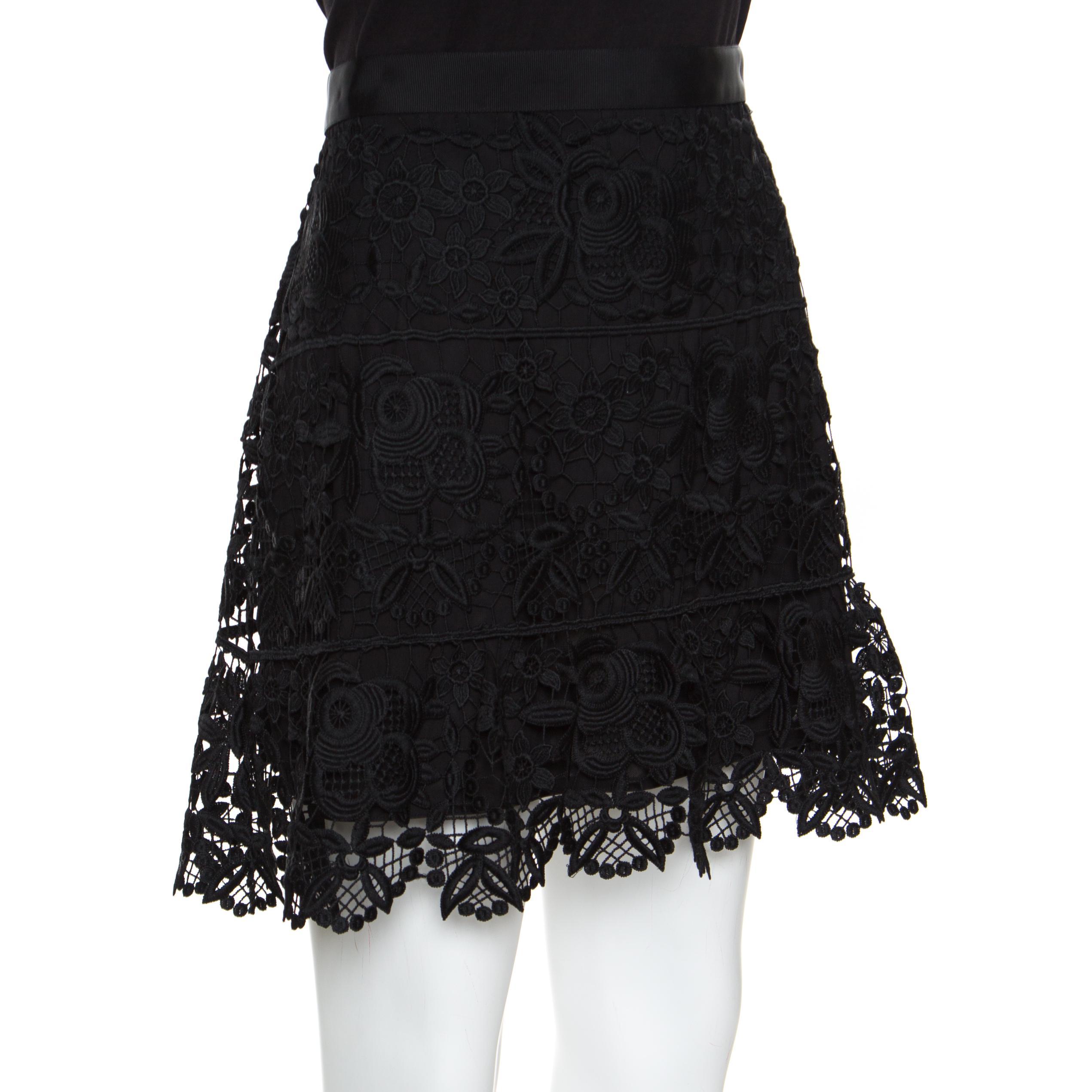 f9577723f FWRD Self Portrait Crochet Mini Skirt in Black Skirts