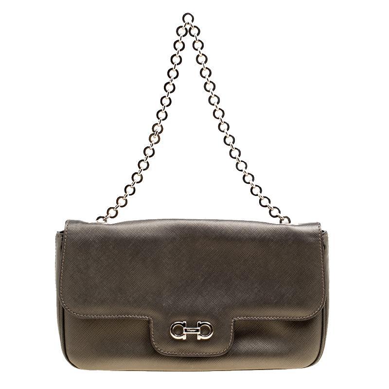 Lyst - Ferragamo Olive Leather Gancini Flap Bag in Green dd1791f2cd184