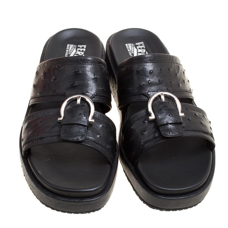 4543581ad6ed Ferragamo - Black Ostrich Leather Lutfi Platform Slides Size 41 for Men -  Lyst. View fullscreen
