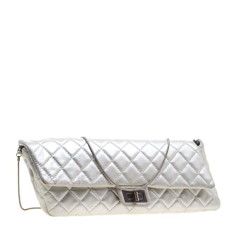 955f2911879d Chanel - Metallic Silver Quilted Leather Reissue Chain Clutch - Lyst. View  fullscreen