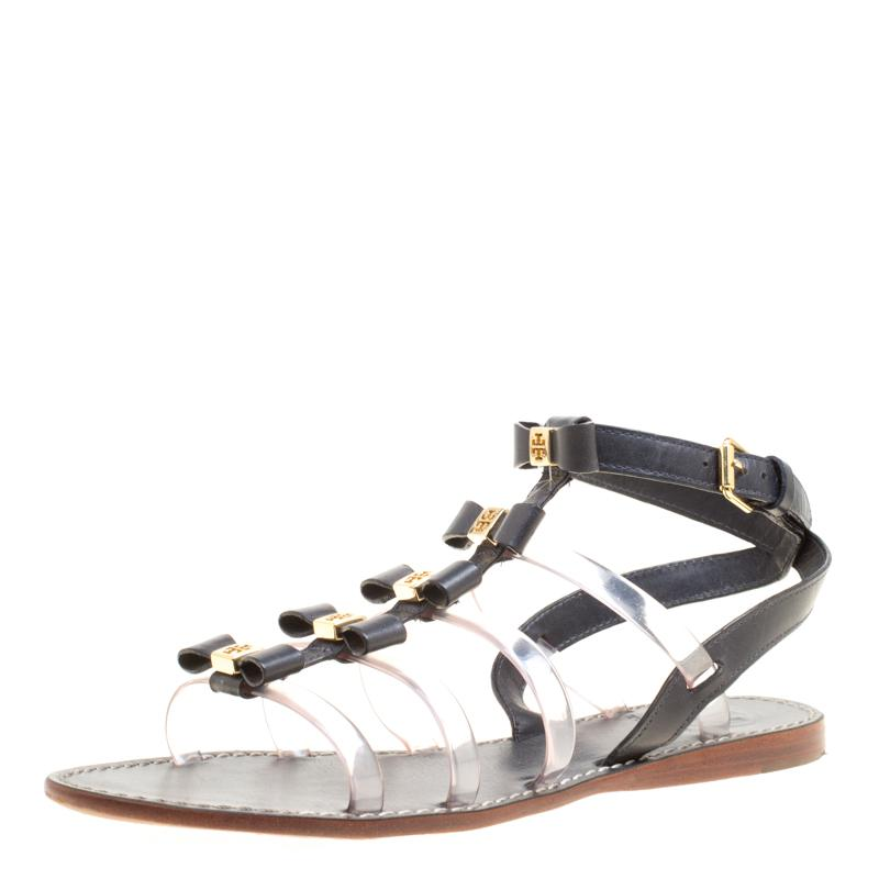 d39510c8b4ad Tory Burch Leather And Pvc Kira Gladiator Flat Sandals in Black - Lyst