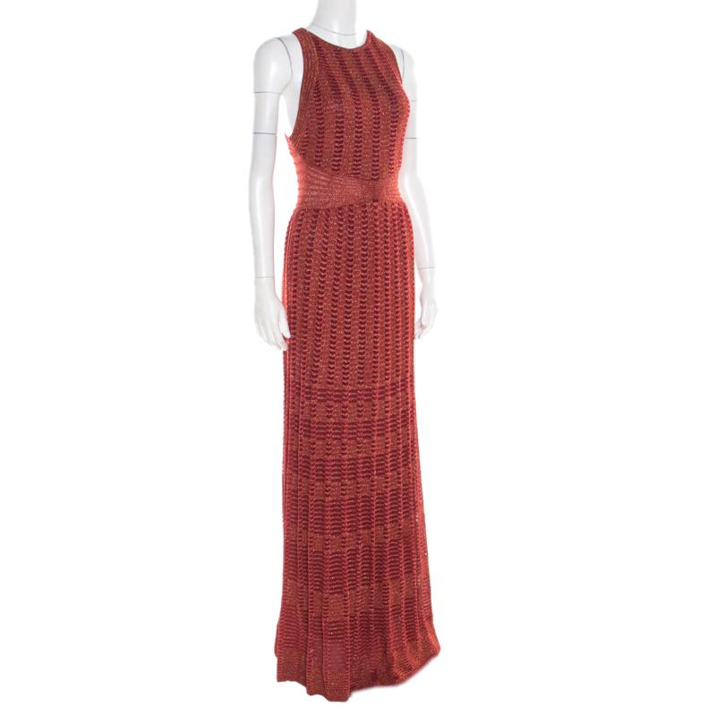 5111e8c2a11 M Missoni - Red Lurex Perforated Knit Cutout Back Detail Maxi Dress S -  Lyst. View fullscreen