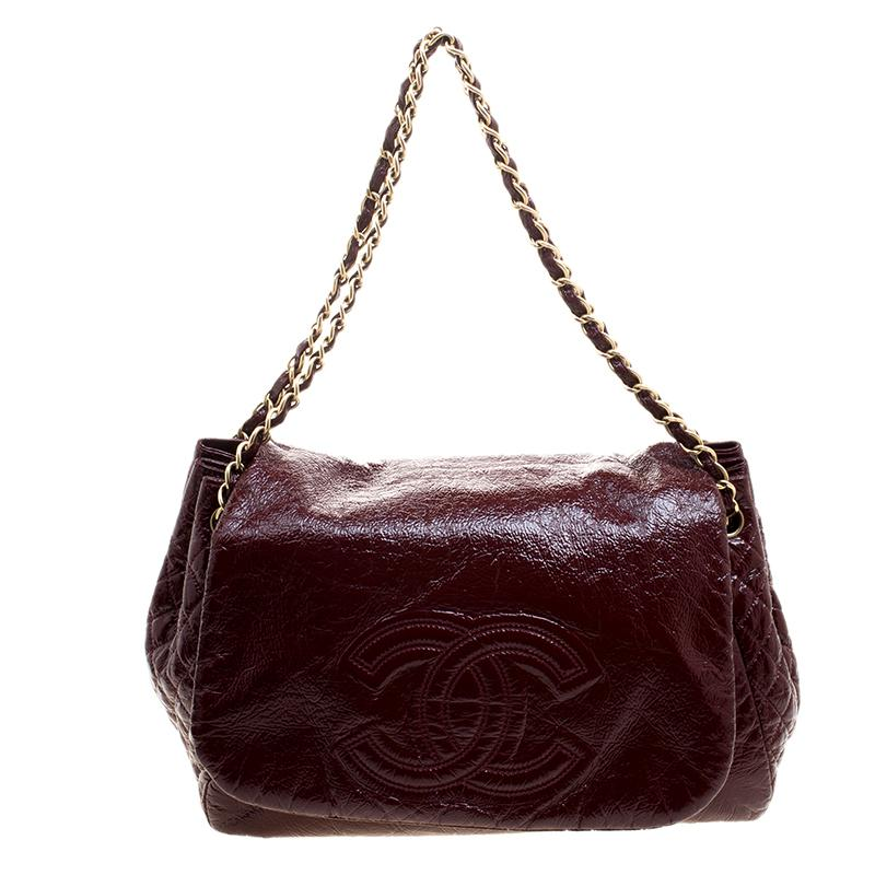 8444d9c8be9e Chanel. Women s Purple Quilted Detail Patent Leather Timeless Accordion  Flap Bag