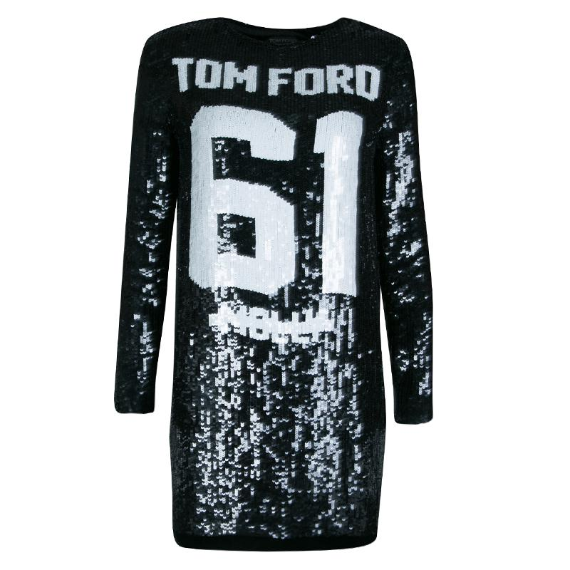 467a183e Tom Ford Sequin Embellished Molly Football Jersey Shift Dress S in ...