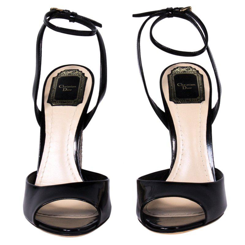 5a13a67978014d Lyst - Dior Patent Leather And Python Ankle Strap Wedges in Black
