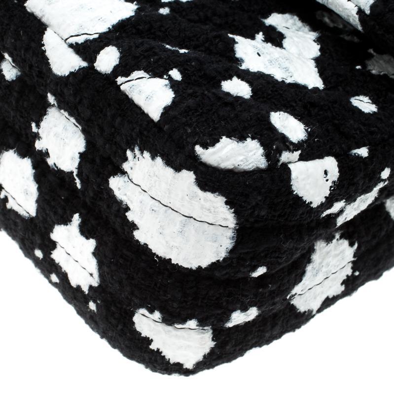 bc9607f01da2 Chanel /white Splatter Paint Tweed Medium Classic Double Flap Bag in ...