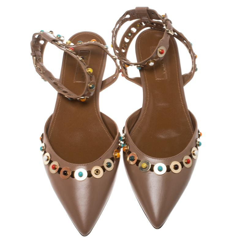 642dd79d7 ... Leather Byzantine Stud Embellished Pointed Toe Flat Sandals - Lyst.  View fullscreen