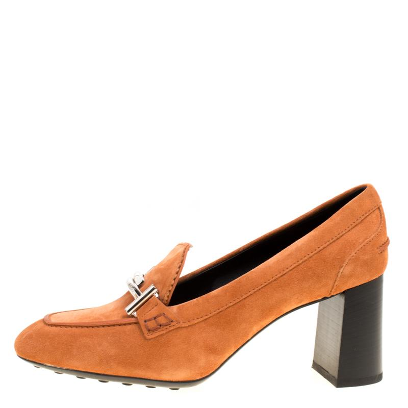 49aedc8afb39 Tod s - Orange Suede Gomma Maxi Double T Court Loafer Pumps - Lyst. View  fullscreen