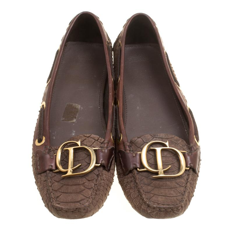 43d3e0a18b4 Lyst - Dior Snake Embossed Suede And Leather Cd Boatstitched Loafers ...