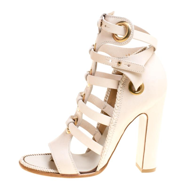 16ef1ee51252 Ferragamo Beige Leather Shyla Gladiator Sandals Size 40 in Natural ...