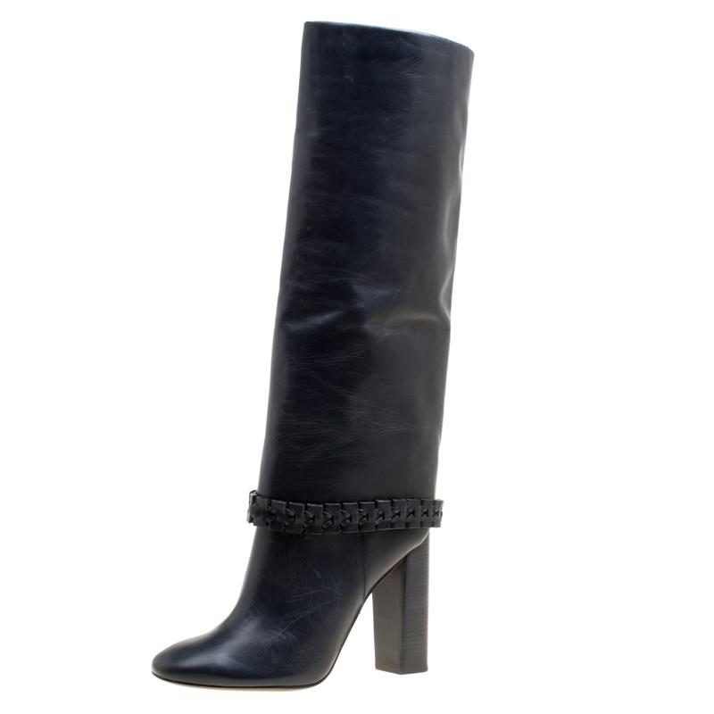 9a6d596ed Tory Burch. Women s Dark Blue Leather Sarava Braid Detail Knee Boots Size 40