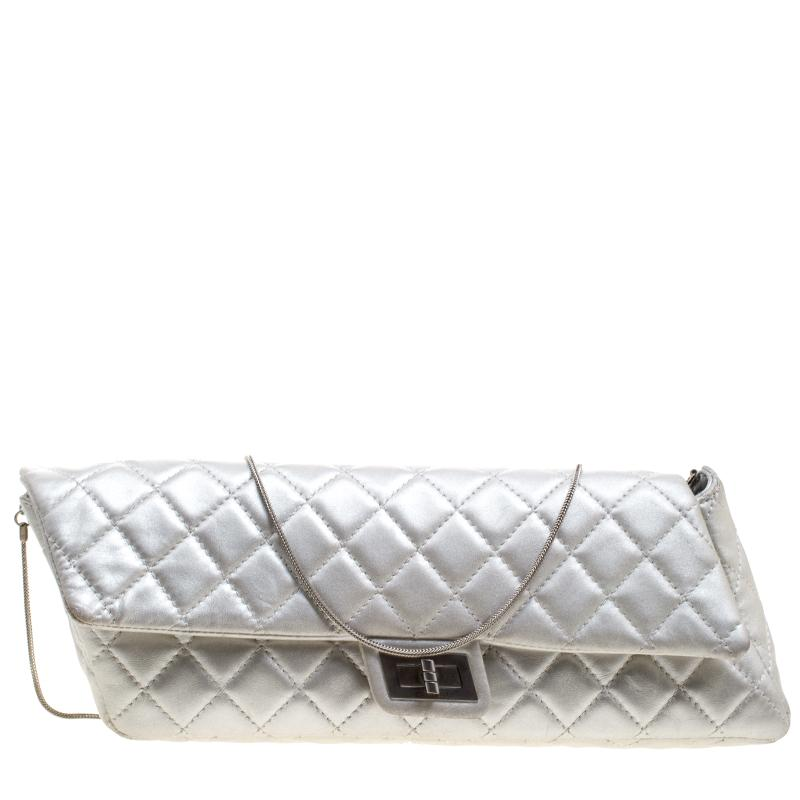 3b87cd18db82 Lyst - Chanel Silver Quilted Leather Reissue Chain Clutch in Metallic
