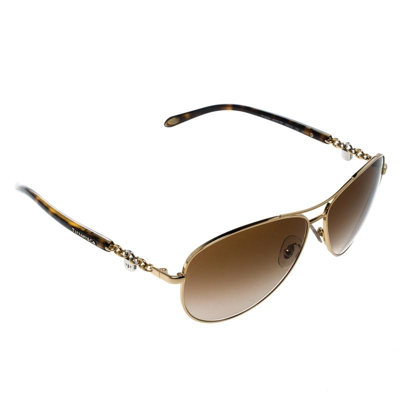 981c2b881841 Tiffany & Co. Gold/brown Gradient Tf3034 Aviator Sunglasses in Brown ...