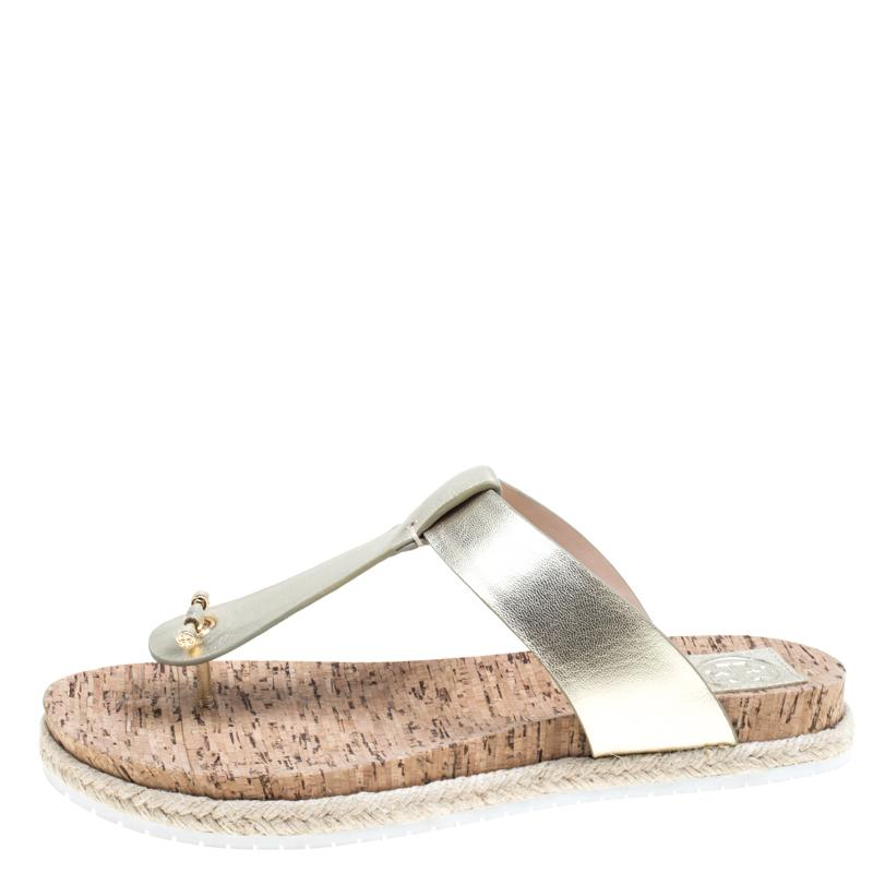 ac77f252a Tory Burch - Metallic Gold Leather Cork Foot Bed Flat Thong Espadrille  Sandals Size 40 -. View fullscreen