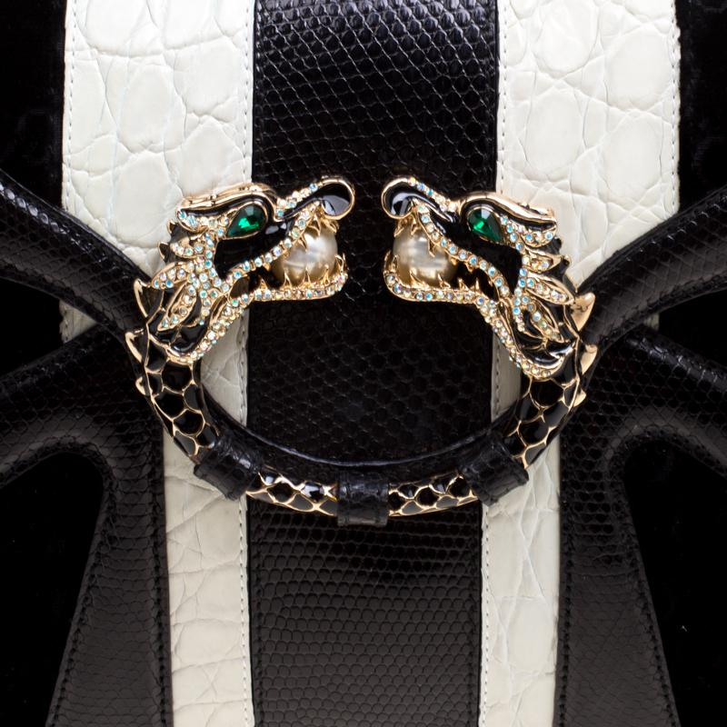 de759aea6678 Gucci /white Exotic Skin And Velvet Tom Ford Jeweled Dragon Chain ...