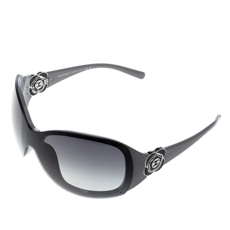 9115a58cc1 Lyst - Chanel Grey  Gradient 6032 Camellia Flower Shield Sunglasses ...