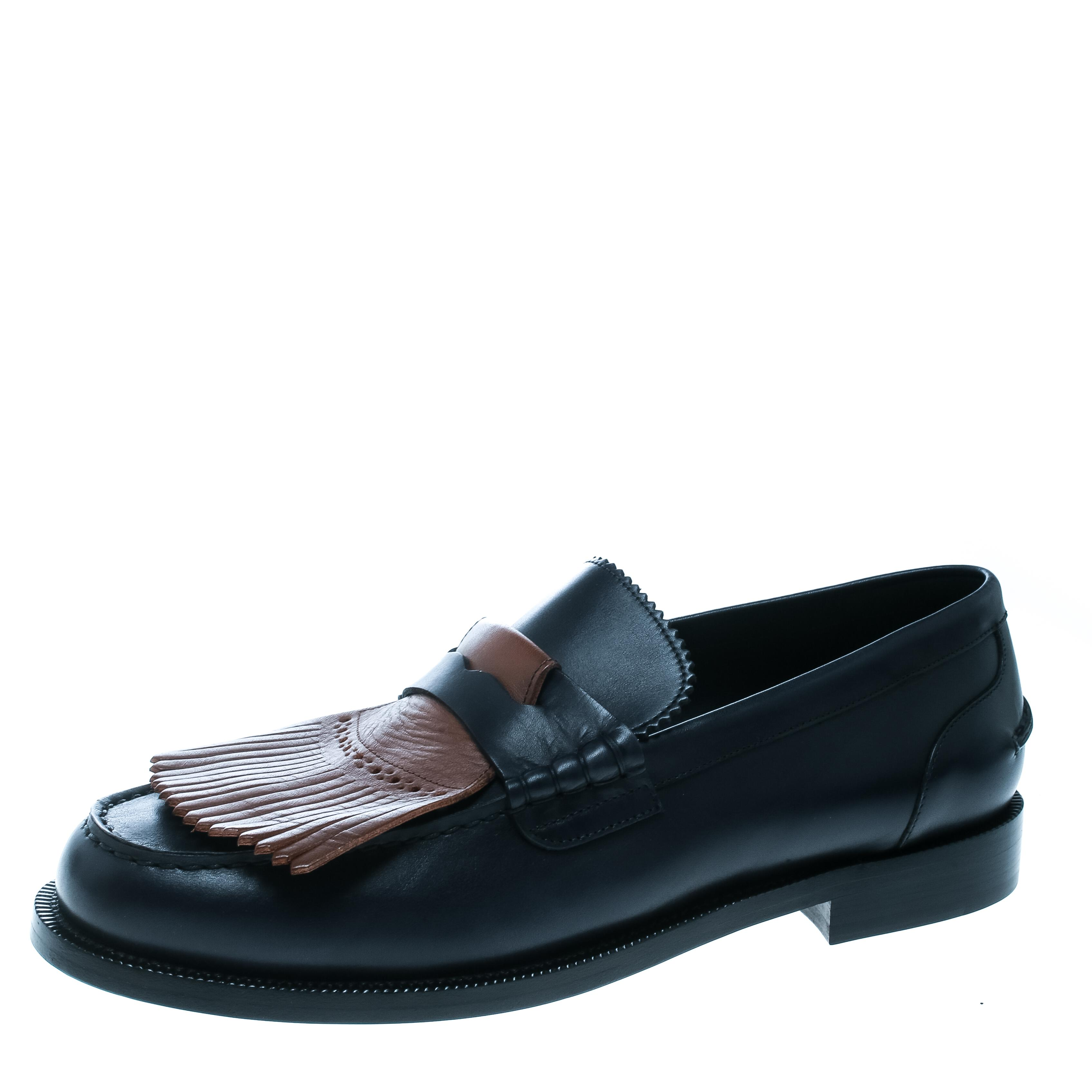d47e49df6a0 Burberry. Men s Dark Blue Leather Bedmoore Fringe Detail Penny Loafers ...