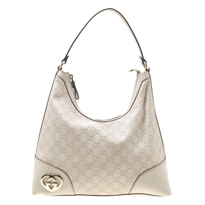 4ffacd1cce4 Gucci. Women s Off White Ssima Leather Lovely Heart Shaped Interlocking G  Hobo