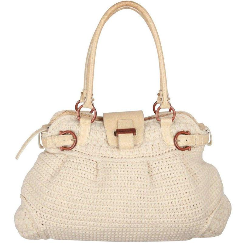 87d581aaf1d Lyst - Ferragamo Ivory Wool Knit Marisa Shoulder Bag in Natural