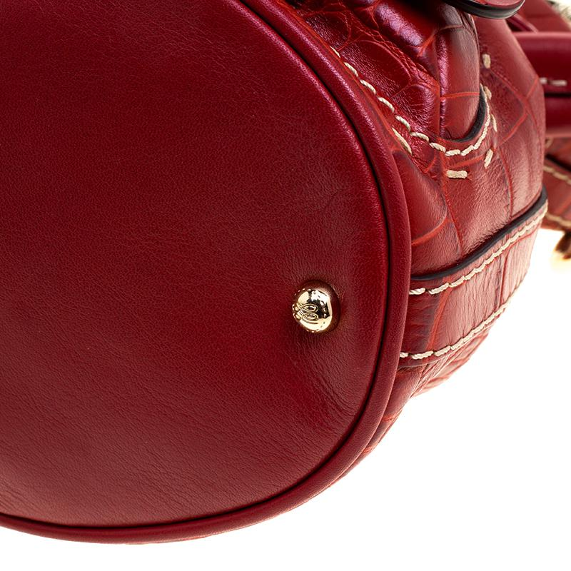 0b744c254302 Lancel Croc Embossed Leather Small Premier Flirt Bucket Bag in Red ...