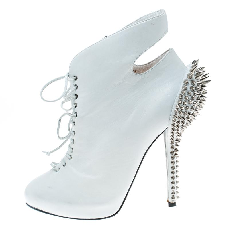 060540b574 Giuseppe Zanotti - White Leather Spike Embellished Heel Cut Out Ankle Boots  - Lyst. View fullscreen