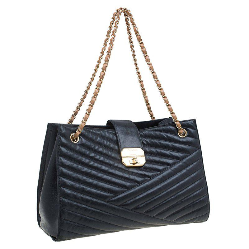 0829afff071c Lyst - Chanel Chevron Quilted Leather Gabrielle Chain Shopping Tote ...