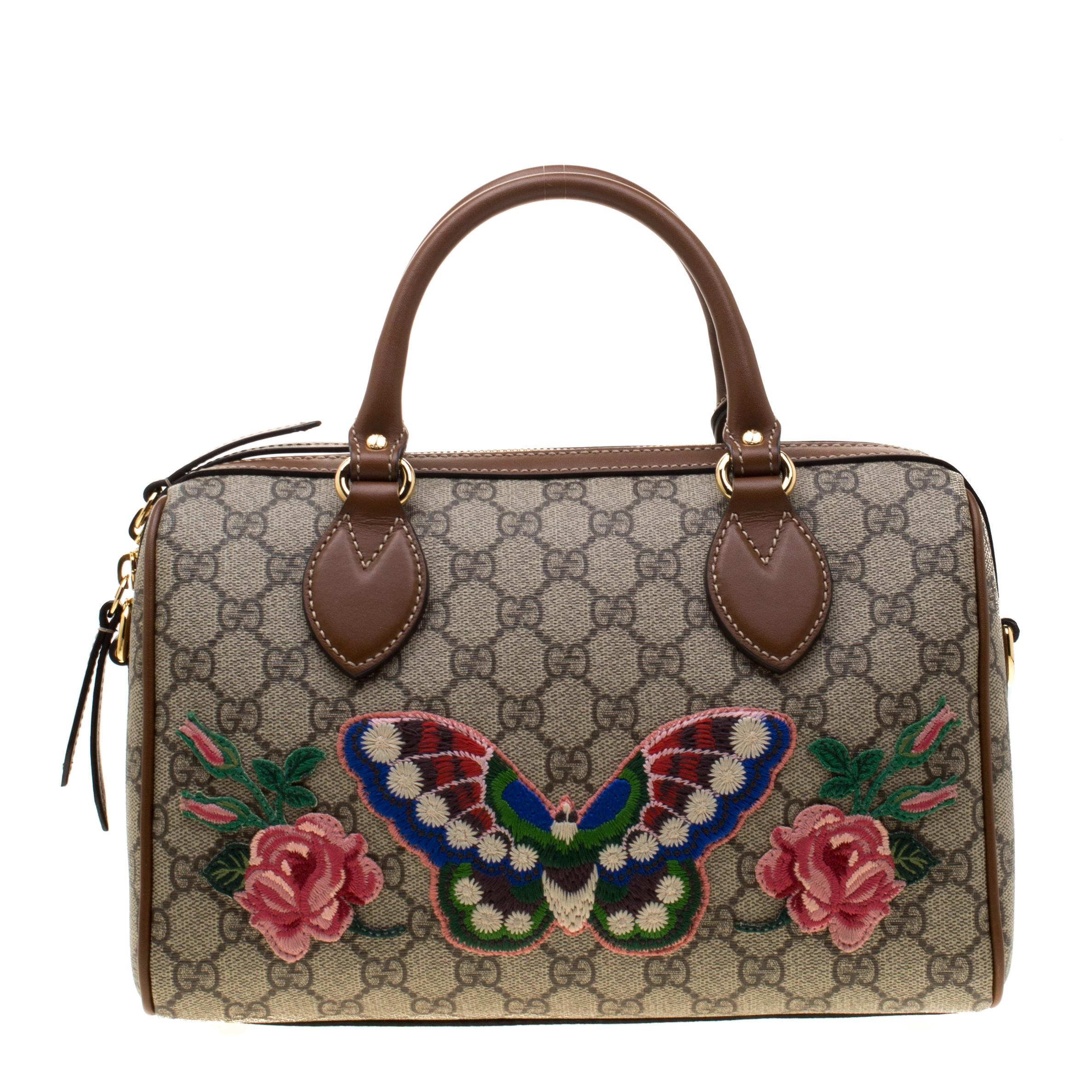 ea0cad0d439 Gucci. Women s Natural Beige brown Butterfly Embroidered GG Supreme Canvas  ...