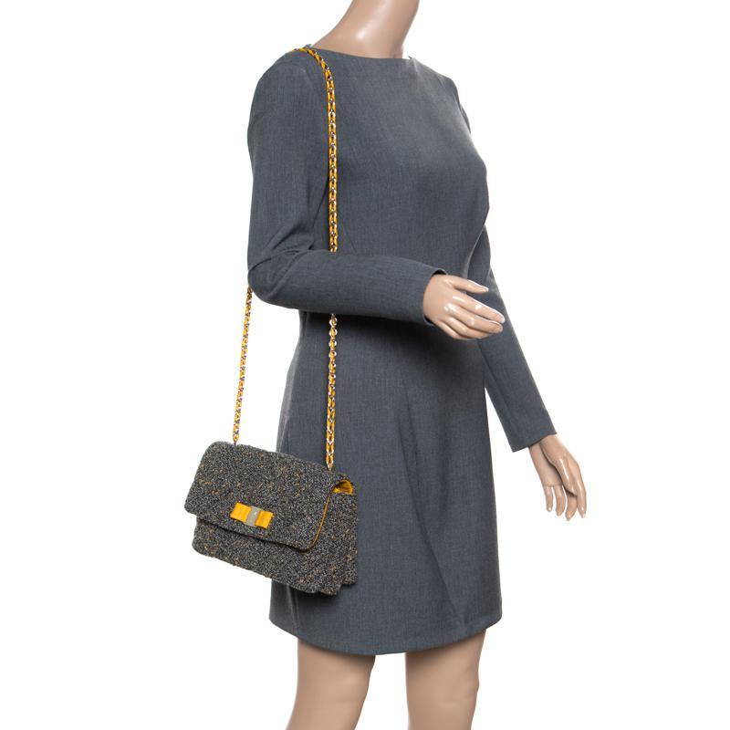 177331d1be74 Ferragamo - Gray Quilted Tweed Gelly Shoulder Bag - Lyst. View fullscreen
