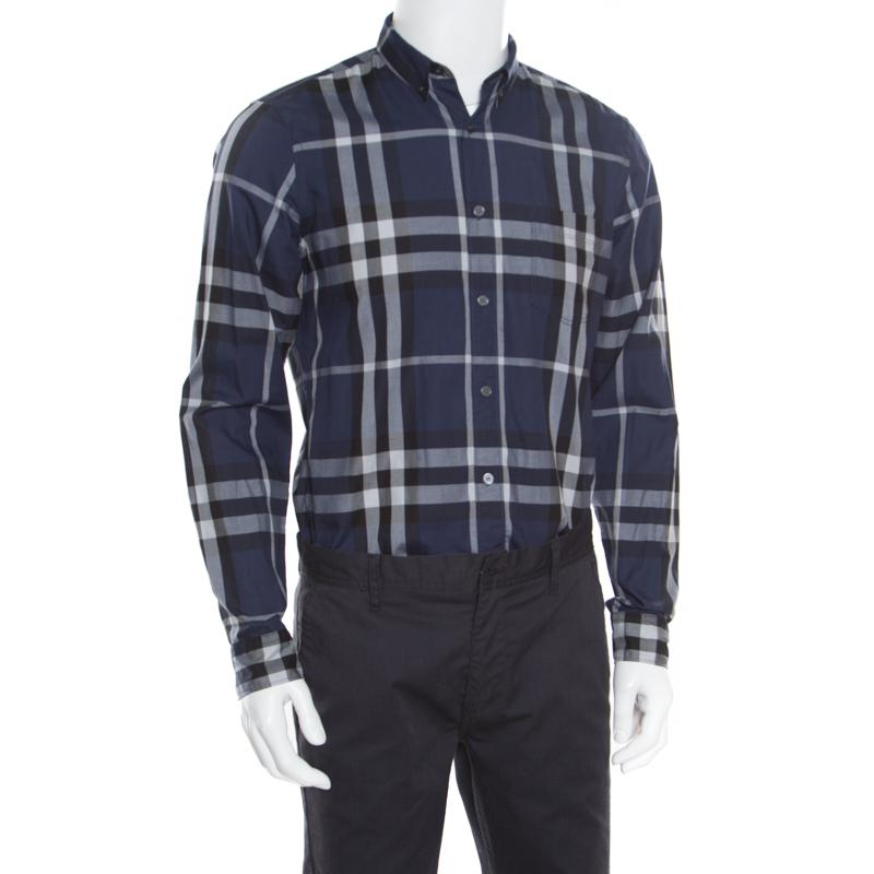 0b283fcd6325 Burberry - Blue Brit Checked Long Sleeve Button Down Shirt M for Men -  Lyst. View fullscreen