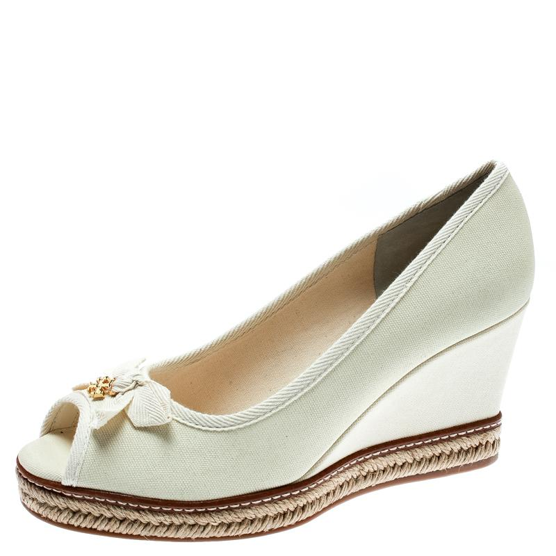 b94a1587ce8 Tory Burch. Women s Ivory Canvas Jackie Espadrille Wedge Court Shoes